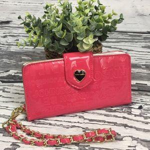 Betsey Johnson Phone Wristlet-Pink Patent Leather